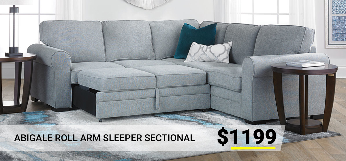 Abigale Roll Arm Sleeper Sectional $1199