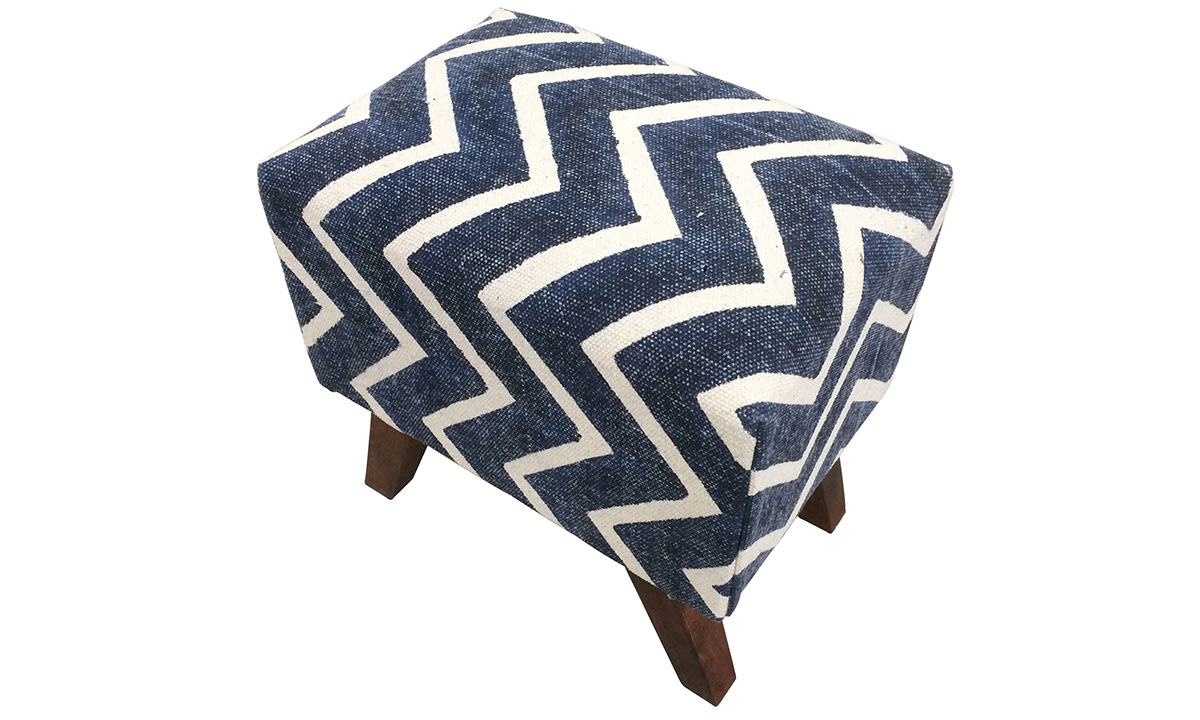 Handcrafted 18-inch ottoman stool with blue upholstery decorate with white chevron pattern