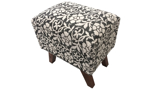 Handcrafted 18-inch ottoman stool with black and white floral pattern and wood legs