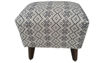18-inch ottoman stool with black and white patterned upholstery with wood legs