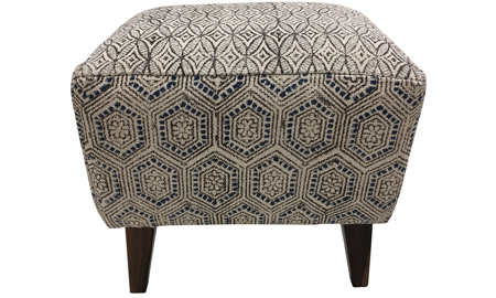 Handcrafted 18-inch ottoman stool with abstract black, blue and white pattern with wood legs