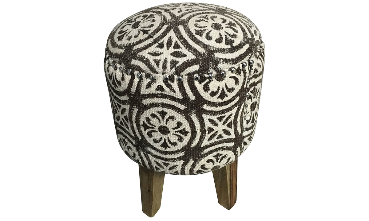 Pink City Juno Suzani Brown Ottoman