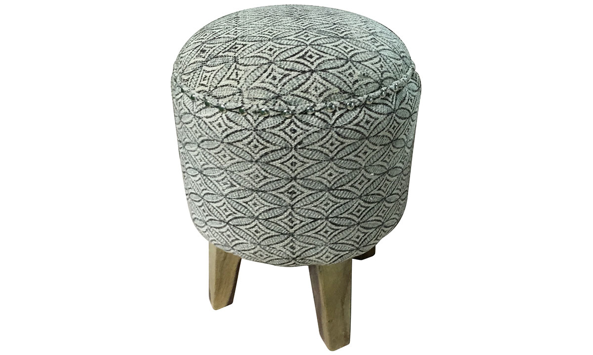 Pink City Juno Black and White Ogee Ottoman
