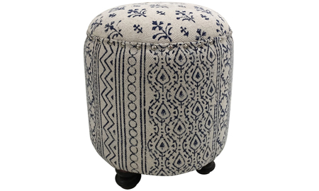 Pink City Adair Floral Stripe Ottoman