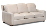 """84"""" wide sofa made from top grain leather."""