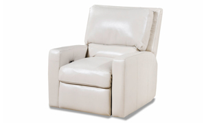 White power recliner crafted with top grain leather.