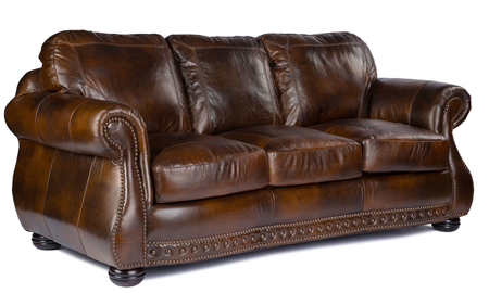 Rocky Mountain Leather Cowboy Brown Sofa