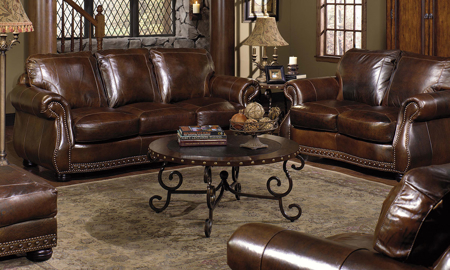 Rocky Mountain Leather Cowboy Brown 4-Piece Living Set