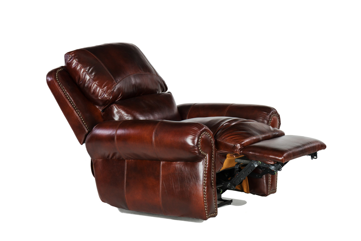 Classic 100% top grain leather recliner with roll arms, nailhead trim and feather down plush back in warm amaretto brown fully reclined.