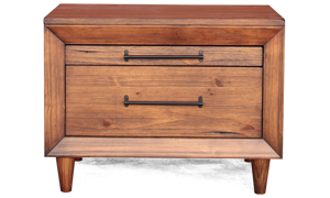 Live edge 2-drawer 30-inch nightstand with industrial metal hardware in warm brown finish