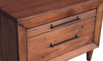 Close-up of modern live edge 2-drawer nightstand in Brazilian pine wood with industrial gray metal hardware in warm brown finish