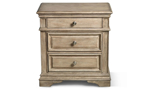 Highland Park Driftwood 3-Drawer Nightstand with USB