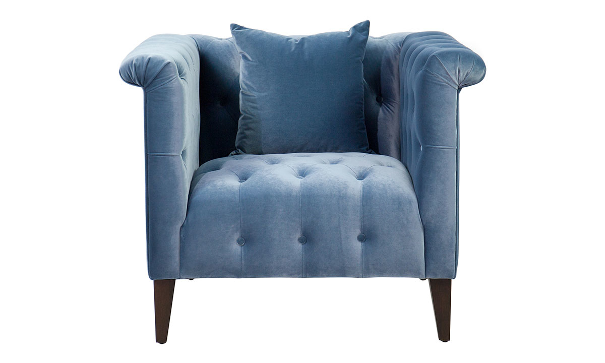 Jessica Jacobs Marco Powder Blue Velvet Arm Chair