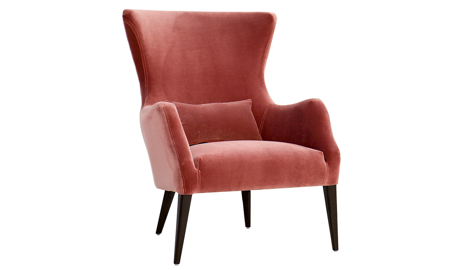 Jessica Jacobs Alfred Dark Rose Velvet Wingback Chair
