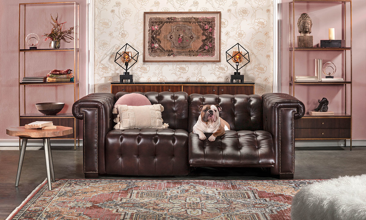 Churchill Walnut Power Reclining Leather Chesterfield Sofa
