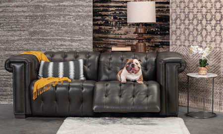 Churchill Pewter Power Reclining Leather Chesterfield Sofa