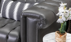 Churchill Pewter Leather Chesterfield Power Recliner