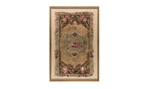 Antique Pink Florals Framed Turkish Rug Wall Art