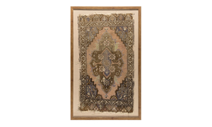 Framed antique Turkish rug with floral pattern in plu, purple and ochre sheep wool.