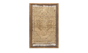 Framed antique handcrafted Turkish antique rug in neutral tone pattern.