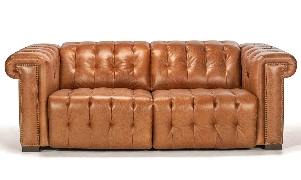 - Churchill Chestnut Power Reclining Leather Chesterfield Sofa The