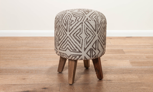 Pink City Juno Abstract Embroidered Ottoman