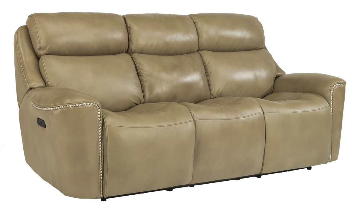 Flexsteel Mystic Power Reclining Leather Sofa Mocha The Dump Luxe Furniture Outlet