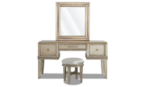 Krystal Platinum Vanity Table Set - Vanity table, mirror and stool in a glamorous platinum silver finish.