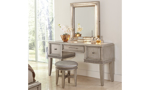 Krystal Platinum Vanity Table Set - Room scene of vanity table, mirror and stool set with glam silver finish and crystal accents.