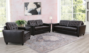 3-piece living room set in espresso brown top grain leather with biscuit-tufted back included sofa, loveseat and chair