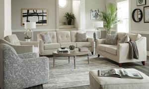 Five-piece living room set includes a sofa, loveseat, armchair, swivel chair and ottoman.