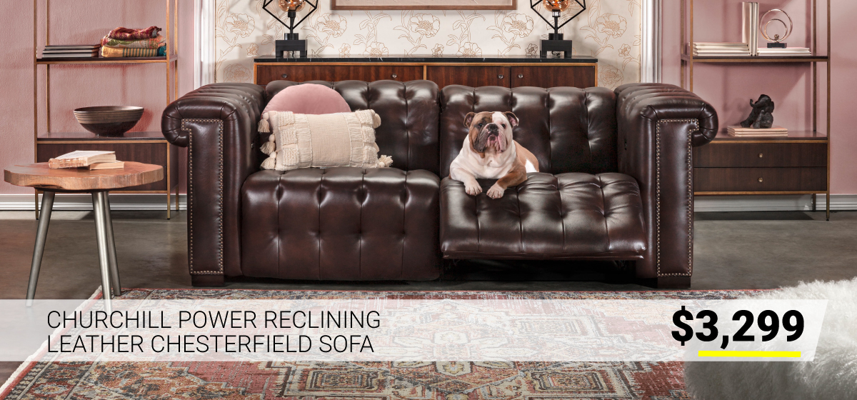 Churchill Power Reclining Leather Chesterfield Sofa $3299