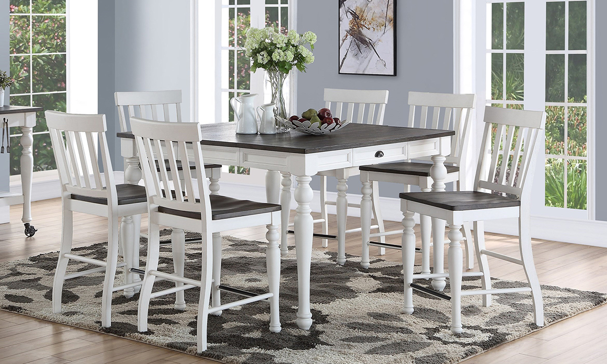 Joanna Farmhouse Counter Height Farmhouse 7 Piece Dining Set The Dump Luxe Furniture Outlet