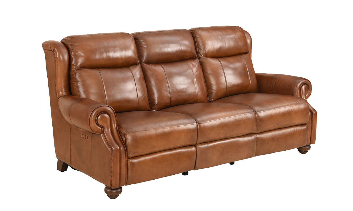 Classic top grain leather sofa with dual power recliners and power headrests in toffee brown