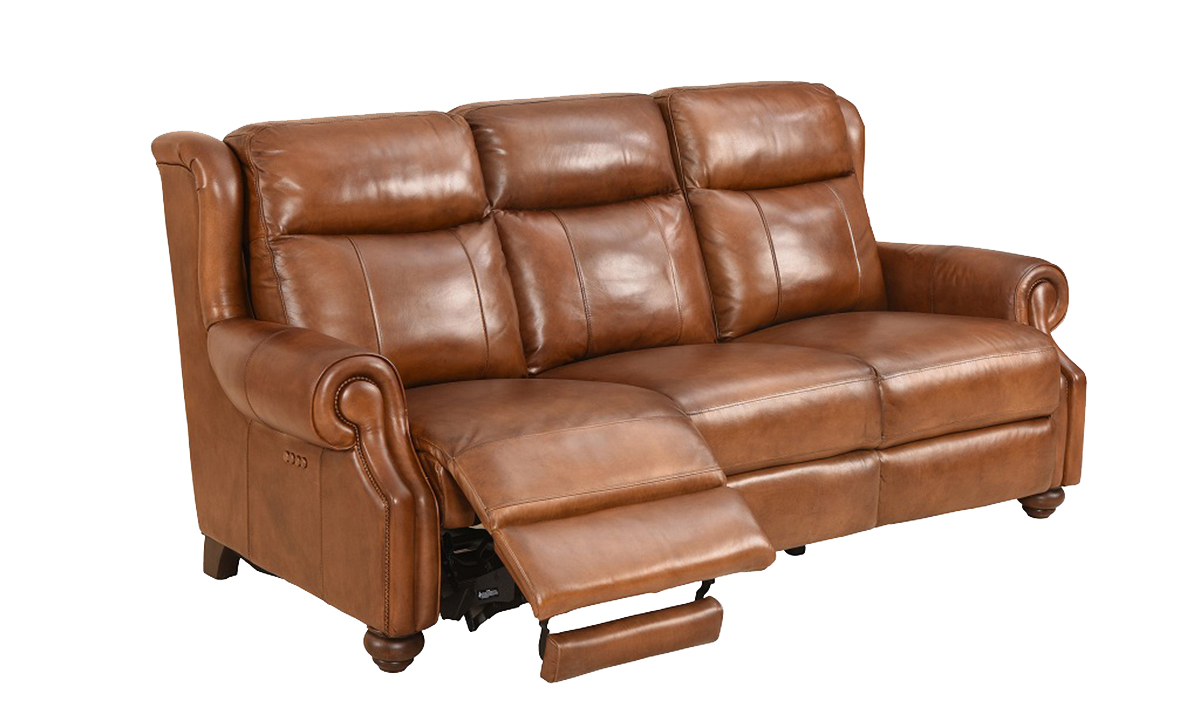 Classic top grain leather sofa with dual power recliners and power headrests in toffee brownwith open recliner