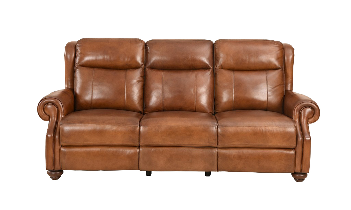 Classic top grain leather sofa with dual power recliners and power headrests in toffee brown- Front View