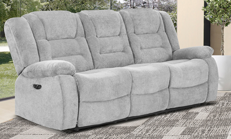 Dominic Ash Power Reclining Sofa with Power Headrest