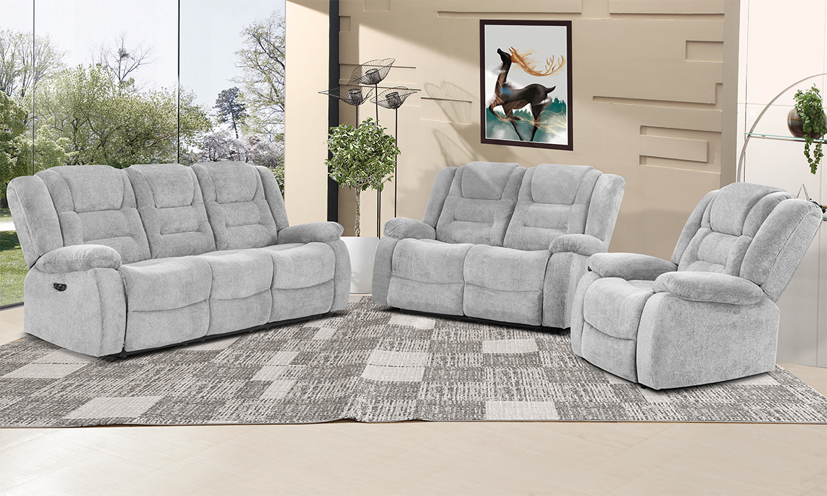 Dominic Ash Power Reclining Loveseat with Power Headrest