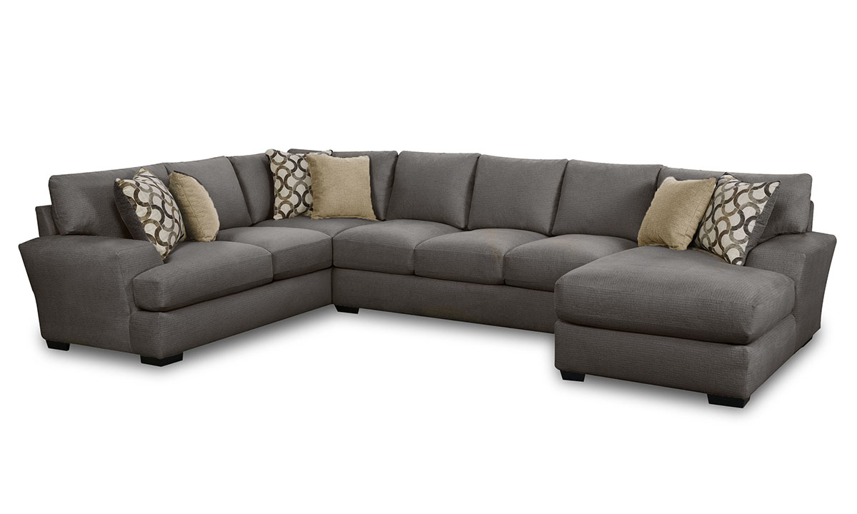 Oversized casual 3-piece sectional sofa in charcoal grey upholstery with matching throw pillows