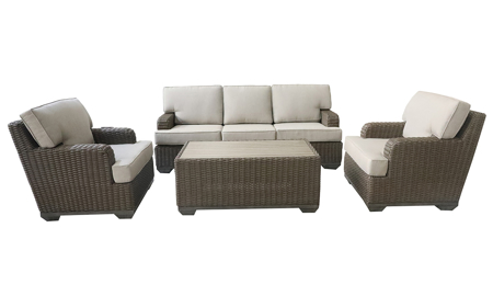 All weather resin brown wicker 4-piece outdoor living set with sofa, 2 club chairs and cocktail table  with neutral cushions