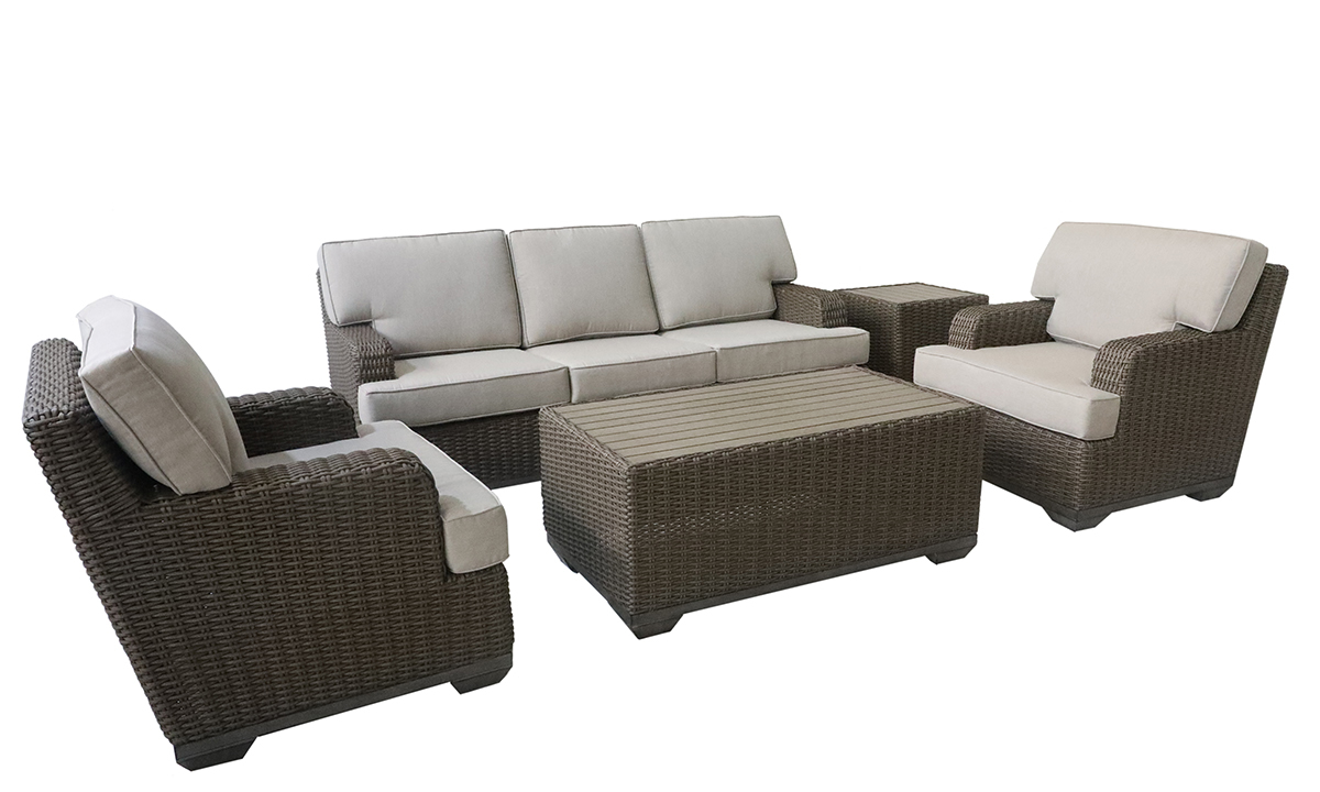 All weather 5-piece outdoor seating set in brown resin wicker with neutral cushions with sofa, two club chairs, cocktail table and side table