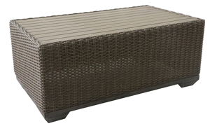 Outdoor cocktail table in all weather brown aluminum and resin wicker with polywood table top