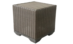 Outdoor 22-inch square side table in all weather brown resin wicker with polywood table top