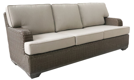 All-weather 85-inch outdoor sofa in brown resin wicker with neutral tone cushions