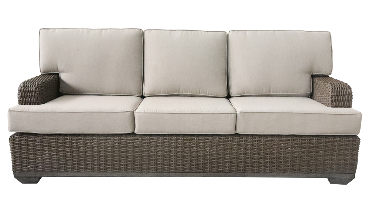 All-weather 85-inch outdoor sofa in brown resin wicker with neutral tone cushions - Front View