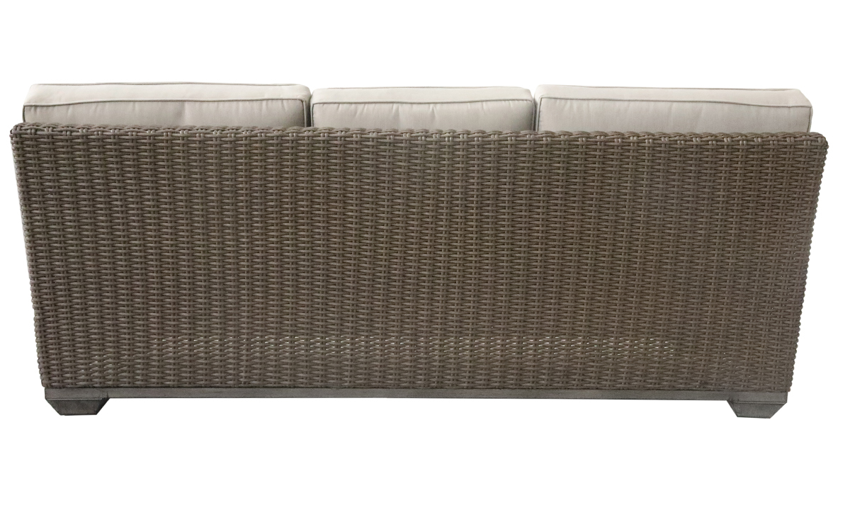 All-weather 85-inch outdoor sofa in brown resin wicker with neutral tone cushions - Back View