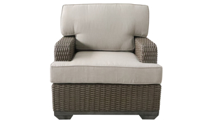 Deep-seated all-weather 35-inch club chair in brown resin wicker with neutral tone cushion - Front View