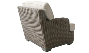 Deep-seated all-weather 35-inch club chair in brown resin wicker with neutral tone cushion - Back Side View