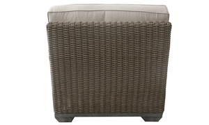 Deep-seated all-weather 35-inch club chair in brown resin wicker with neutral tone cushion - Back