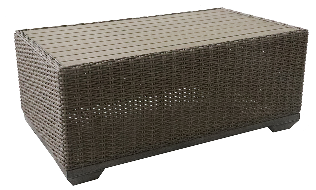 All-weather 47-inch wide outdoor cocktail table in brown aluminum and resin wicker with polywood table top - angled view